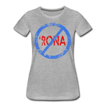 No 'Rona / Perfectly Basic Women's Tee / Blue & Red Distressed - heather gray