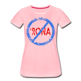 No 'Rona / Perfectly Basic Women's Tee / Blue & Red Distressed - pink