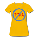 No 'Rona / Perfectly Basic Women's Tee / Blue & Red Distressed - sun yellow