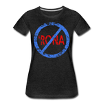 No 'Rona / Perfectly Basic Women's Tee / Blue & Red Distressed - charcoal gray
