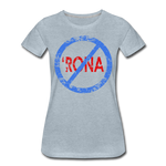 No 'Rona / Perfectly Basic Women's Tee / Blue & Red Distressed - heather ice blue