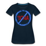 No 'Rona / Perfectly Basic Women's Tee / Blue & Red Distressed - deep navy