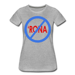 No 'Rona / Perfectly Basic Women's Tee / Blue & Red Clean - heather gray