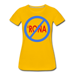 No 'Rona / Perfectly Basic Women's Tee / Blue & Red Clean - sun yellow