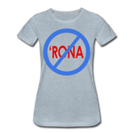 No 'Rona / Perfectly Basic Women's Tee / Blue & Red Clean - heather ice blue