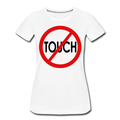 Don't Touch / Perfectly Basic Women's Tee / Red & Black - white