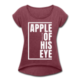 Apple of His Eye / Women's Tennis Tail Tee / White - heather burgundy