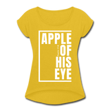 Apple of His Eye / Women's Tennis Tail Tee / White - mustard yellow