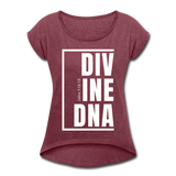 Divine DNA / Women's Tennis Tail Tee / White - heather burgundy