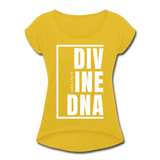 Divine DNA / Women's Tennis Tail Tee / White - mustard yellow