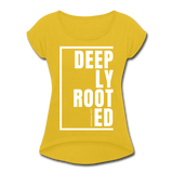 Deeply Rooted / Women's Tennis Tail Tee / White - mustard yellow