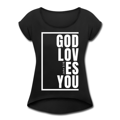 God Loves You / Women's Tennis Tail Tee / White - black