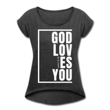 God Loves You / Women's Tennis Tail Tee / White - heather black