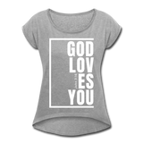 God Loves You / Women's Tennis Tail Tee / White - heather gray