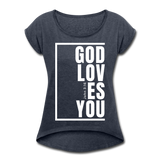 God Loves You / Women's Tennis Tail Tee / White - navy heather