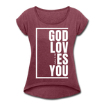 God Loves You / Women's Tennis Tail Tee / White - heather burgundy