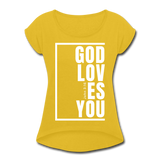 God Loves You / Women's Tennis Tail Tee / White - mustard yellow