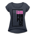 Peace, i am for / Women's Softstyle Tee / Pink & Black - navy heather