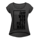 Wonderfully Made, i am / Women's Tennis Tail Tee / Black - heather black