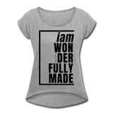 Wonderfully Made, i am / Women's Tennis Tail Tee / Black - heather gray