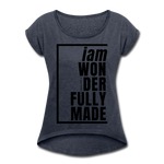 Wonderfully Made, i am / Women's Tennis Tail Tee / Black - navy heather