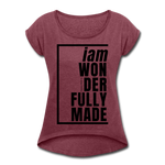 Wonderfully Made, i am / Women's Tennis Tail Tee / Black - heather burgundy
