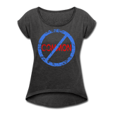 Uncommon / Women's Tennis Tail Tee / Blue & Red Distressed - heather black
