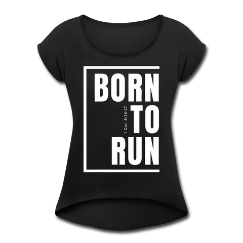 Born to Run / Women's Tennis Tail Tee / White - black