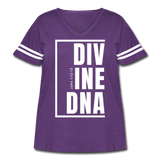 Divine DNA / Curvy Women's Vintage Sport Tee / White - vintage purple/white