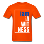 Witness, i am a / Men's Tagless T-Shirt / Blue & White - orange