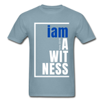 Witness, i am a / Men's Tagless T-Shirt / Blue & White - stonewash blue