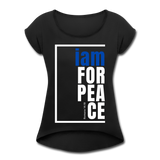 Peace, i am for / Women's Tennis Tail Tee / Blue & White - black