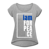 Peace, i am for / Women's Tennis Tail Tee / Blue & White - heather gray