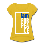 Peace, i am for / Women's Tennis Tail Tee / Blue & White - mustard yellow