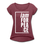 Peace, i am for / Women's Tennis Tail Tee / White - heather burgundy
