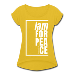 Peace, i am for / Women's Tennis Tail Tee / White - mustard yellow