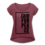 Peace, i am for / Women's Tennis Tail Tee / Black - heather burgundy