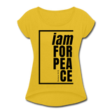 Peace, i am for / Women's Tennis Tail Tee / Black - mustard yellow