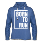 Born to Run Frayed Light Hoodie/UniW - heather Blue