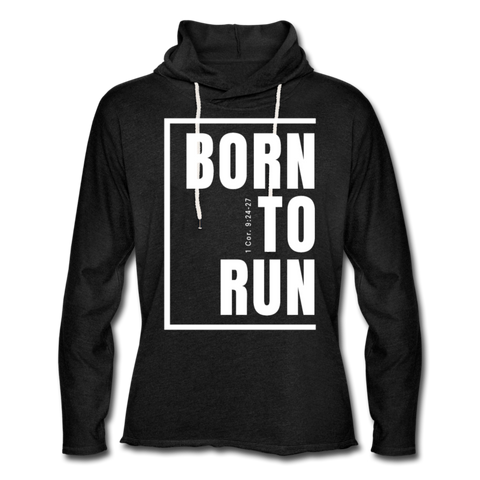 Born to Run Frayed Light Hoodie/UniW - charcoal gray