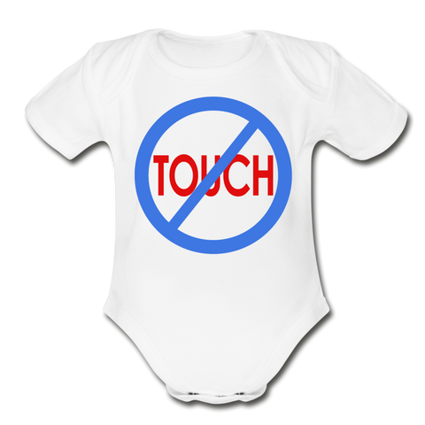 Don't Touch Organic Baby Onsie/BluRC - white