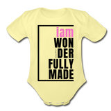Wonderfully Made, i am Organic Baby Onsie/PBlk - washed yellow