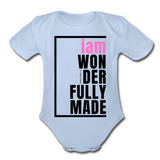 Wonderfully Made, i am Organic Baby Onsie/PBlk - sky