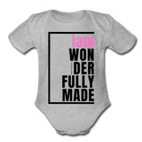 Wonderfully Made, i am Organic Baby Onsie/PBlk - heather gray