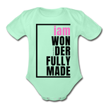 Wonderfully Made, i am Organic Baby Onsie/PBlk - light mint