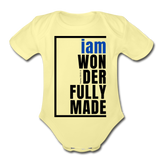 Wonderfully Made, i am Organic Baby Onsie/BluBlk - washed yellow