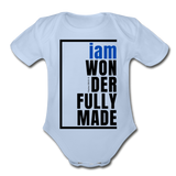 Wonderfully Made, i am Organic Baby Onsie/BluBlk - sky