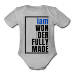 Wonderfully Made, i am Organic Baby Onsie/BluBlk - heather gray