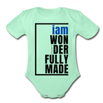 Wonderfully Made, i am Organic Baby Onsie/BluBlk - light mint
