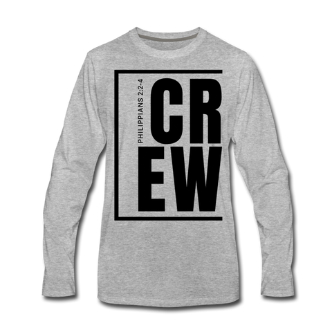 Crew / Men Premium LS Blk - heather gray
